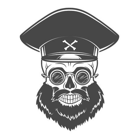 캡틴 모자와 고글 수염 난 두개골. 죽은 미친 폭군 로고 개념. 벡터 독재자 티셔츠 그림입니다.