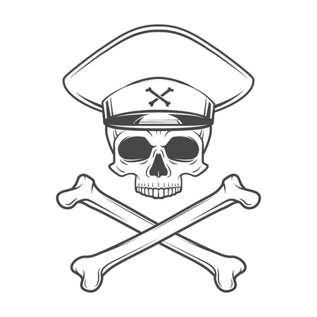 Skull with general hat and cross bones. Dead crazy tyrant logo concept. Vector military t-shirt illustration Illustration