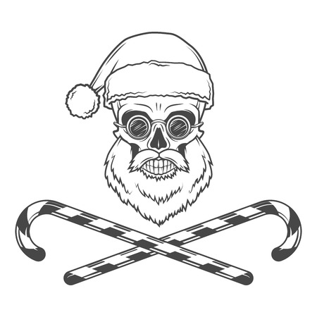 skull icon: Bearded Skull Santa Claus with candy canes and grasses poster. Vintage Christmas old man portrait. X-mas t-shirt illustration.