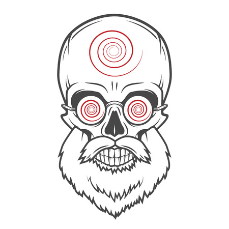 old man portrait: Bearded skull with hypnotic glasses. Crazy steampunk magician portrait. Dead victorian old man vintage logo