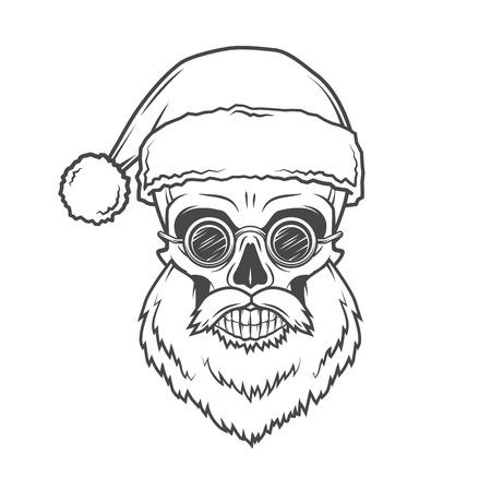 old man portrait: Bearded Skull Santa Claus with glasses poster. Vintage Christmas old man portrait. X-mas t-shirt illustration Illustration