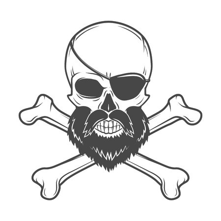 corsair: Pirate skull with beard, eye patch and crossed bones vector. Edward Teach portrait. Corsair logo template. Filibuster t-shirt insignia design.