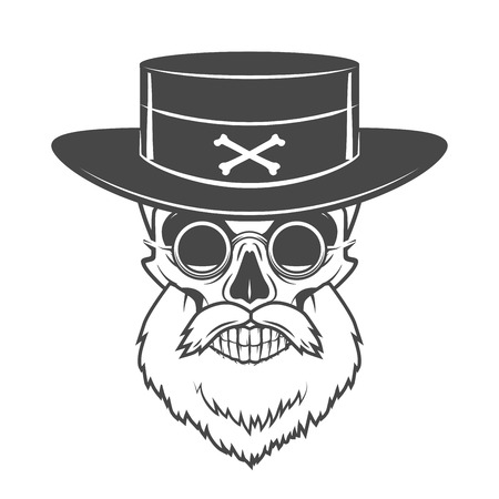 Head hunter skull with beard, hat and glasses vector. Rover logo template. Bearded old man t-shirt design Illustration