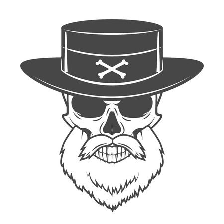 goatee: Head hunter skull with beard, hat and glasses vector. Rover logo template. Bearded old man t-shirt design Illustration