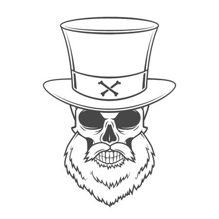 burly: Head hunter skull with beard, hat and glasses vector. Rover logo template. Bearded old man t-shirt design.