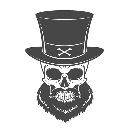 rogue: Outlaw skull with beard and high hat portrait vector. Crossbones logo template. Bearded rover t-shirt insignia design.