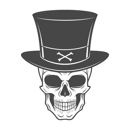 cappelli: Selvaggio west cranio con il cappello. Sorridente rover logo modello. Die voluto o ritratto vivo. Alto modo t-shirt uomo disegno.