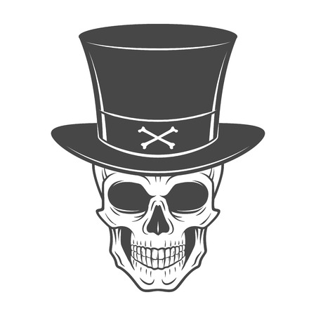 Wild west skull with hat. Smiling rover logo template. Wanted die or alive portrait. High way man t-shirt design. Stock Illustratie
