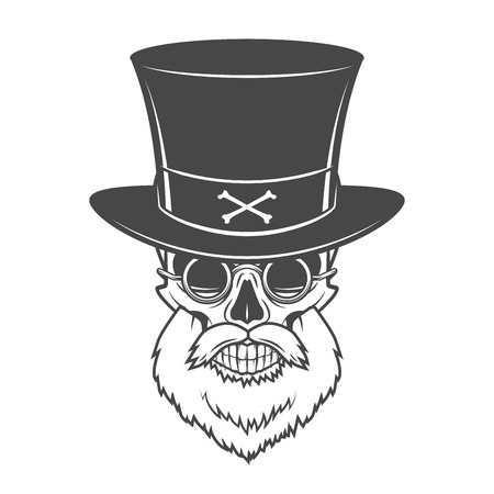 death cap: Head hunter skull with beard, hat and glasses vector. Rover logo template. Bearded old man t-shirt design Illustration
