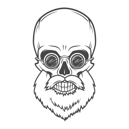 rogue: Evil Bearded Jolly Roger with glasses logo template. Old biker t-shirt design. Rock and roll insignia concept