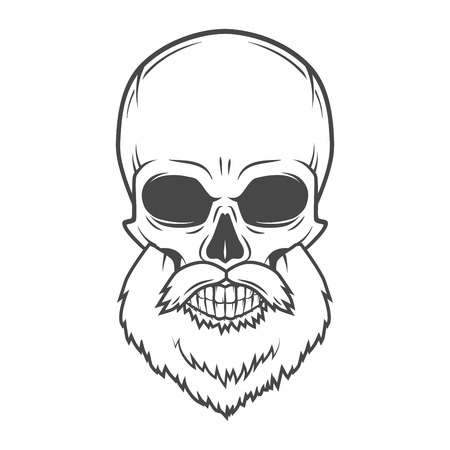 Evil Bearded Jolly Roger logo template. Old biker t-shirt design. Rock and roll insignia concept