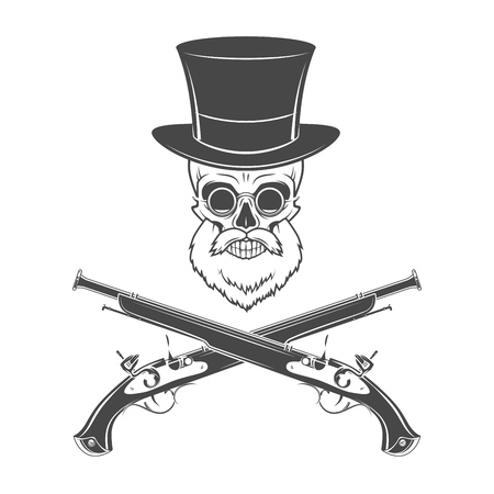 rogue: Gentleman of fortune skeleton with beard, glasses, top hat and flint guns. Victorian rover logo template. Illustration