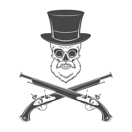 flint: Gentleman of fortune skeleton with beard, glasses, top hat and flint guns. Victorian rover logo template. Illustration