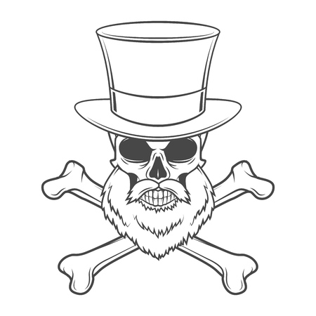 brigand: Outlaw skull with beard and high hat portrait vector. Crossbones logo template. Bearded rover t-shirt insignia design Illustration