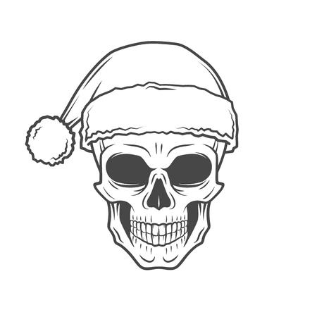 calavera: Mal cartel del motorista de Santa Claus. Heavy metal Retrato de Navidad. El rock and roll nueva camiseta ilustración año Vectores