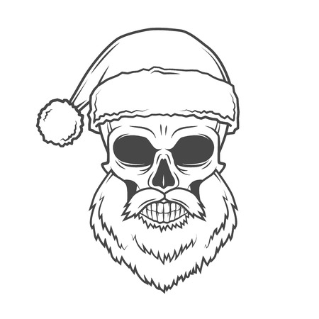 heavy metal: Bad Santa Claus biker poster. Heavy metal Christmas portrait. Rock and roll new year t-shirt illustration. Illustration