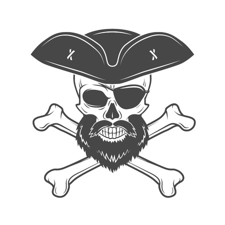 edward: Pirate skull with beard, eye patch and crossed bones vector. Edward Teach portrait. Corsair logo template. Filibuster t-shirt insignia design.