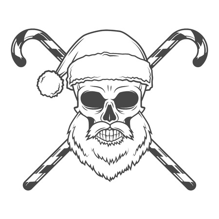 Bad Santa biker poster. Heavy metal Christmas portrait. Rock and roll new year t-shirt illustration.