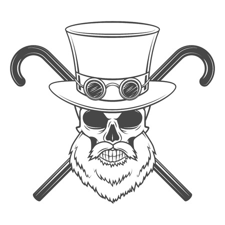 Old bearded steampunk gentleman skull with goggles and cylinder hat.