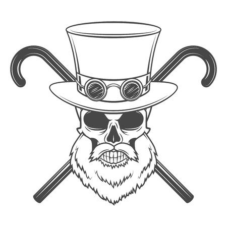 고글과 실린더 모자와 함께 오래 수염 스팀 펑크 신사 두개골입니다. 일러스트