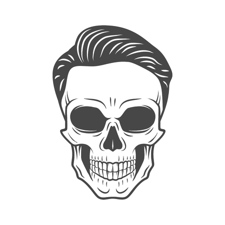 barbershop: Young stylish skull with hipster hair. Glamour rock skeleton logo template.