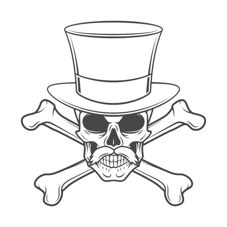 high hat: Outlaw skull with mustache, high hat and crossbones portrait. Crossbones head hunter logo template. Steampunk rover t-shirt insignia design. Illustration