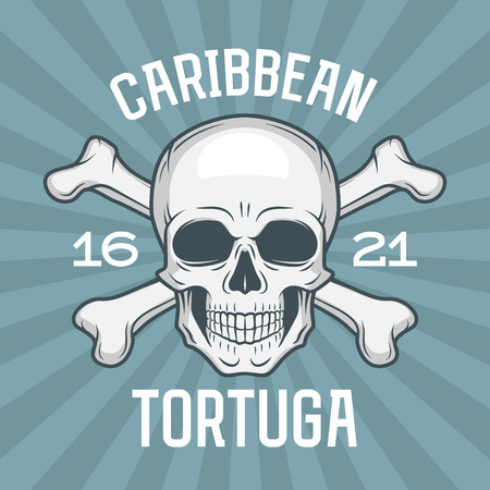 roger: Pirate insignia concept. Caribbean tortuga island vector t-shirt design blue background. Jolly Roger with crossbones logo template. Poison icon illustration Illustration