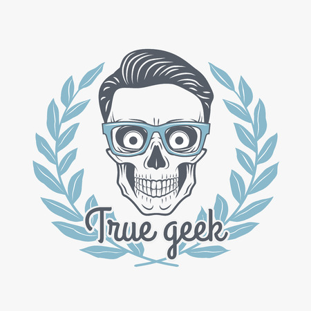 deadman: True geek skull vector with hipster glasses and laurel leafs. Crazy deadman insignia template. Smiling skeleton badge design. Jolly student label