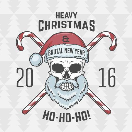 사탕 인쇄 디자인과 나쁜 산타 클로스 자전거. 중금속 크리스마스 초상화. 바위와 롤 2016 새해 티셔츠 그림입니다.