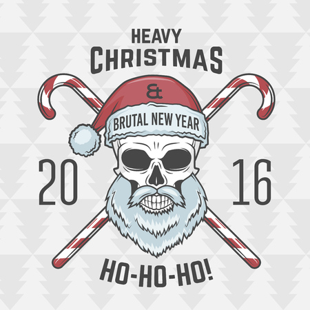 heavy metal: Bad Santa Claus biker with candies print design. Heavy metal Christmas portrait. Rock and roll 2016 new year t-shirt illustration.