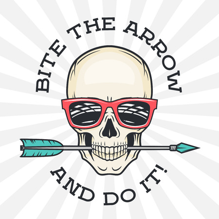 skull and crossbones: Hipster skull with geek sunglasses and arrow. Bite the arrow idiom t-shirt. Cool motivation poster design. Apparel shop logo label Illustration