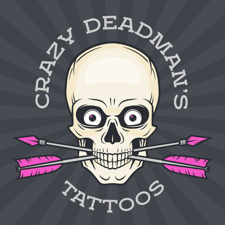 skull logo: Tattoo shop logo template. Hipster skull with crossed arrows.  Cool poster design. Apparel shop label