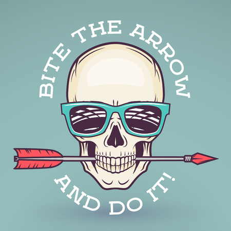 Hipster skull with geek sunglasses and arrow. Bite the arrow idiom t-shirt. Cool motivation poster design. Apparel shop logo label Illustration