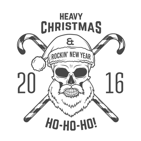 santa zombie: Bad Santa Claus biker with candies print design. Heavy metal Christmas portrait. Rock and roll 2016 new year t-shirt illustration.