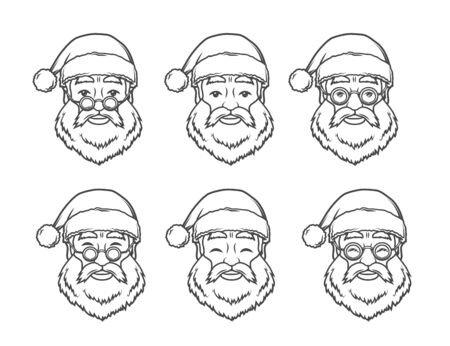 Set of smiling Santa Claus face with round glasses. Happy New Year design elements. Vintage Xmas mask. Christmas t-shirt illustration
