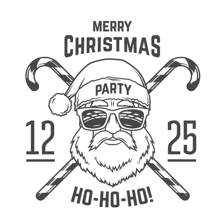 Santa Claus with hipster glasses and candy cones print design. Vintage disco insignia. Christmas old man portrait. Rock and roll logo. New year t-shirt illustration Ilustração