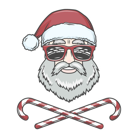 Santa Claus biker with candy cones and hipster glasses print design. Vintage disco man Christmas logo insignia. Rock and roll new year t-shirt illustration.