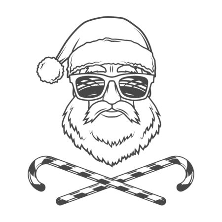 man in hat: Santa Claus biker with candy cones and hipster glasses print design. Vintage disco man Christmas portrait. Rock and roll new year t-shirt illustration