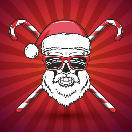Bad Santa Claus biker with candy print design. Heavy metal Christmas portrait. Rock and roll new year t-shirt illustration.