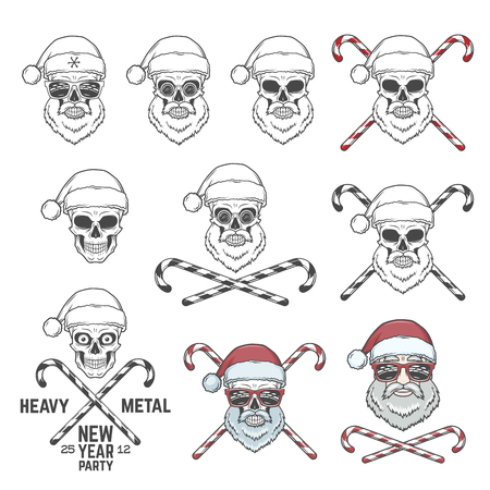 Big set of Santa Claus skulls with candie cones and glasses. New year logo insignia design elements. Vintage Heavy metal party Christmas badge collection. Rock and roll noel t-shirt illustration Vettoriali