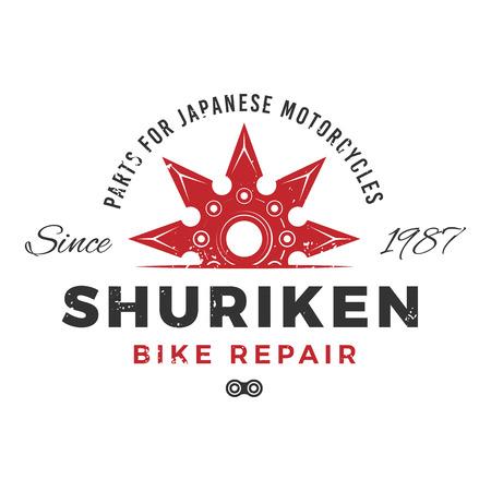 shuriken: Japan bike repair service concept. Ninja weapon insignia design. Vintage shuriken badge. Motorcycle parts t-shirt illustration