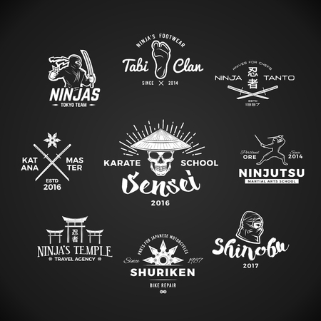clan: Set of Japan Ninjas . Katana weapon insignia design. Vintage ninja mascot badge. Martial art Team t-shirt illustration concept