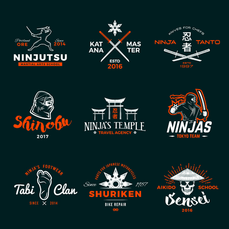 katana: Set of Japan Ninjas . Katana weapon insignia design. Vintage ninja mascot badge. Martial art Team t-shirt illustration concept