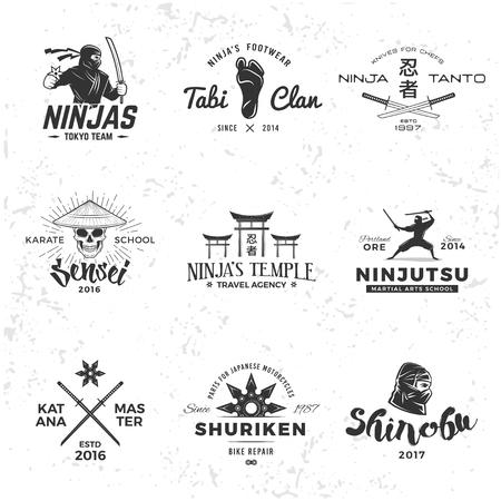balaclava: Set of Japan Ninjas . Katana weapon insignia design. Vintage ninja mascot badge. Martial art Team t-shirt illustration concept