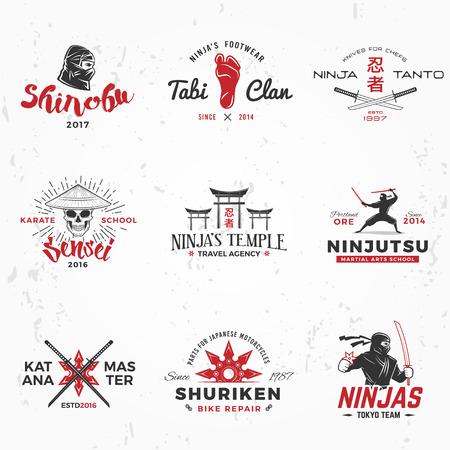 mascot: Set of Japan Ninjas . Katana weapon insignia design. Vintage ninja mascot badge. Martial art Team t-shirt illustration concept