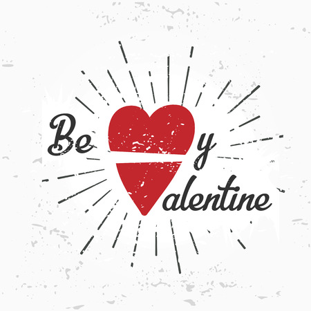 february 14: Be my valentine creative concept. february 14 postcard design. Vintage valentines day banner. Love t-shirt illustration. Heart lettering