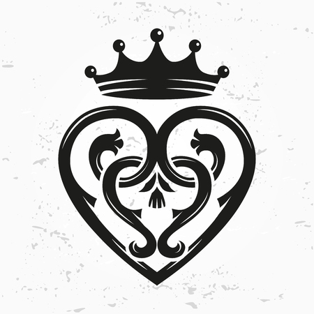 Luckenbooth élément de dessin vectoriel Broche. Vintage en forme de coeur écossais avec le symbole de la couronne logo concept. Saint-Valentin ou de mariage illustration sur le fond grunge