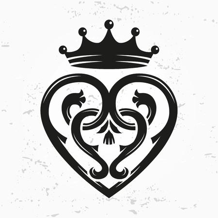 Luckenbooth elemento di design spilla vettoriale. a forma di cuore scozzese d'epoca con il simbolo della corona logo concept. San Valentino o di nozze illustrazione su sfondo grunge