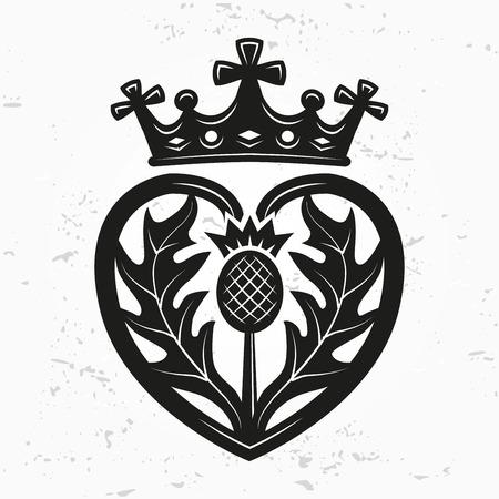 Luckenbooth broche de elemento de diseño vectorial. la forma del corazón de la vendimia con la corona escocesa y el concepto del logotipo del símbolo del cardo. día o de la boda ilustración de San Valentín en el fondo del grunge Logos