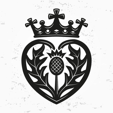 corona reina: Luckenbooth broche de elemento de dise�o vectorial. la forma del coraz�n de la vendimia con la corona escocesa y el concepto del logotipo del s�mbolo del cardo. d�a o de la boda ilustraci�n de San Valent�n en el fondo del grunge